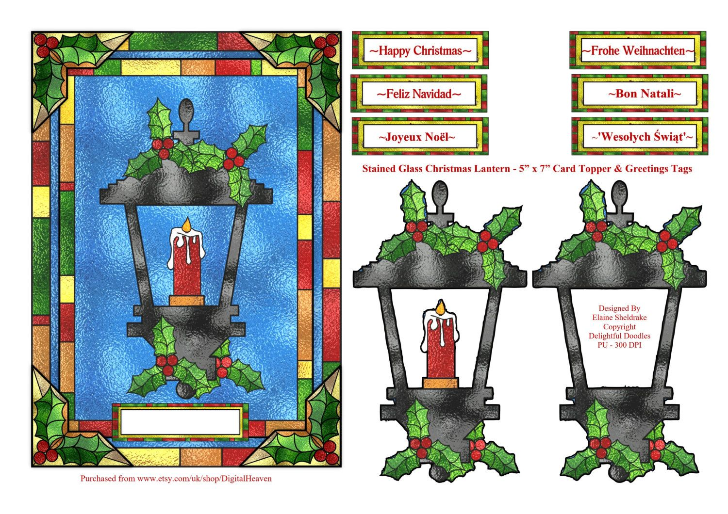 Stained Glass Christmas Lantern 5 X 7 With Greetings In English