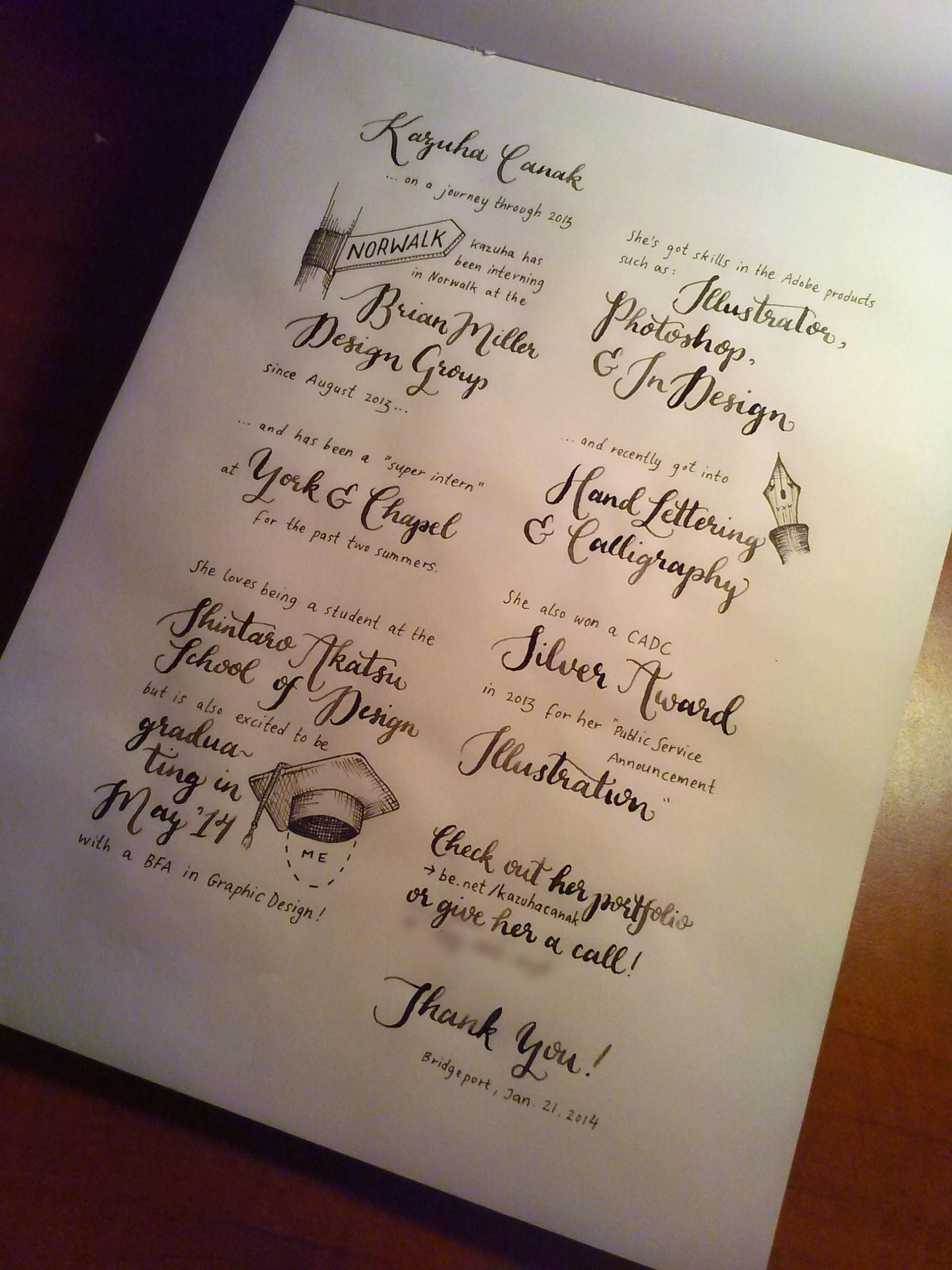 Hand Lettered Resume By Kazuha Canak  Introduction To The Art Of