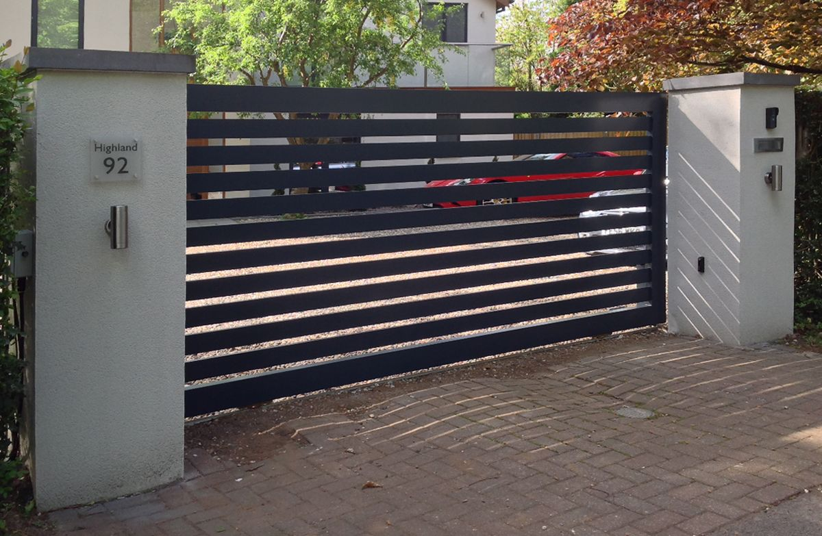 Contemporary aluminium electric driveway gates front for Motorized gates for driveways