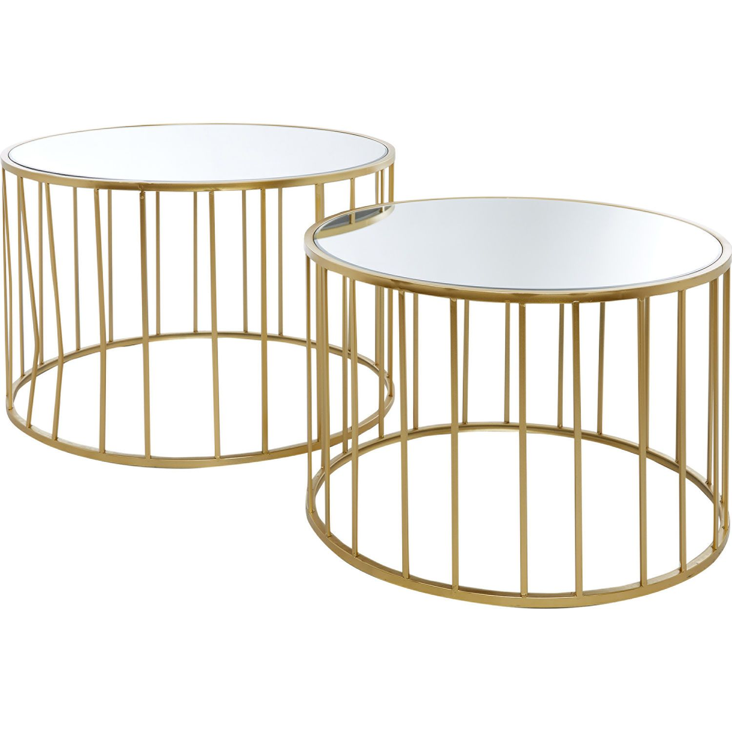 Set Of Two Gold Tone Caged Coffee Tables Living Room