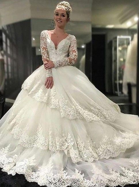 daa76f6fe4 http   inspirationbridal.storenvy.com products 19484080-2017-long-sleeve- wedding-dresses-lace-ball-gown-bridal-dresses-deep-v-neck