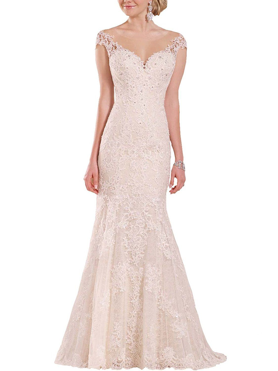 Lace dress gown  Changjie Womenus Cap Sleeves Beadiing Bridal Gown Lace Applique