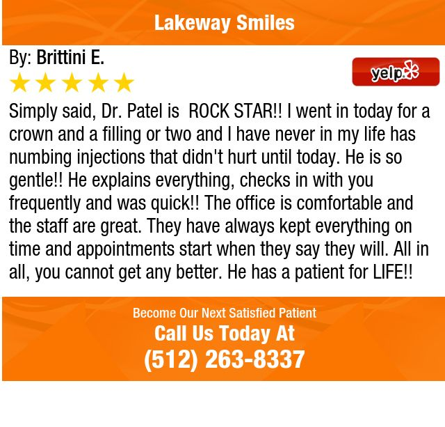 Simply said, Dr. Patel is  ROCK STAR!! I went in today for a crown and a filling or two...