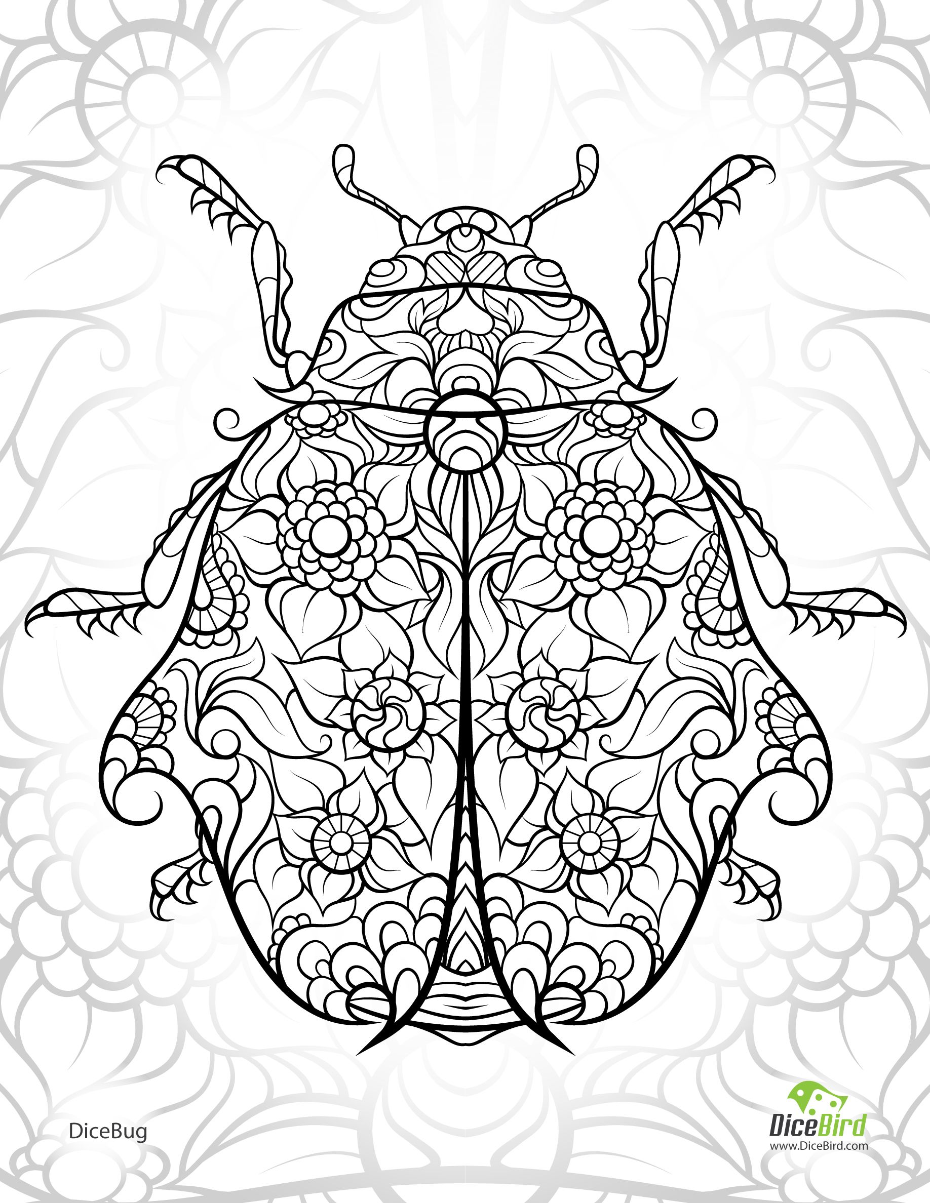 DiceBug LadyBug - free adult coloring pages to print | Эмалевая ...