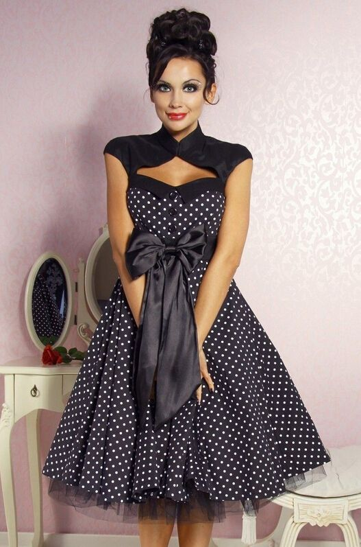free shipping VINTAGE POLKA DOT SWING 1950s 60 ROCKABILLY DRESS ...