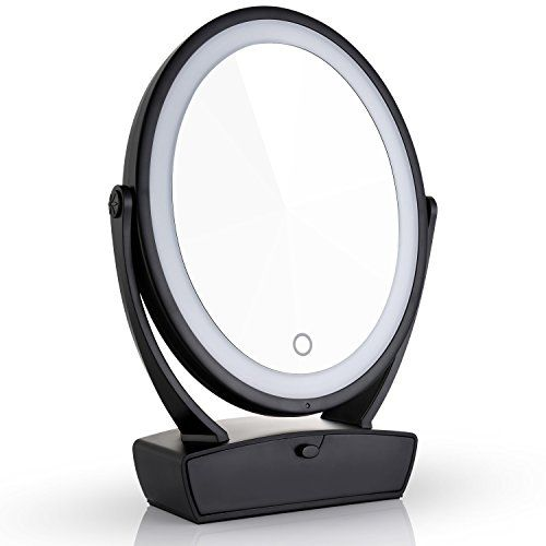 Miusco Two Sided Lighted Makeup Mirror With Vanity Drawer 1x 7x