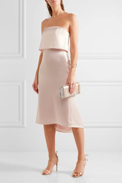 Layered Satin Dress - Blush Halston Heritage Sox6EX1