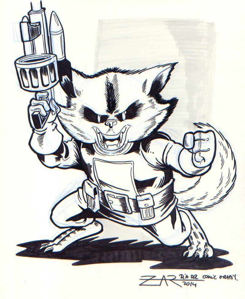 Rocket Racoon Sketch - Ilustración de Mapache Cohete   MY DRAWINGS ...
