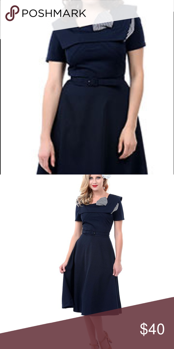 Adorable Bettie Page Swing Dress With Stripe Bow Navy Blue