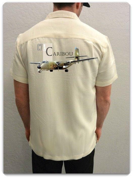 Men's Airplane Shirt-C-7 Caribou- Vietnam War, Cargo Plane-Aviation Shirt, Ivory- veteran gift, military gift,men's gift,for him