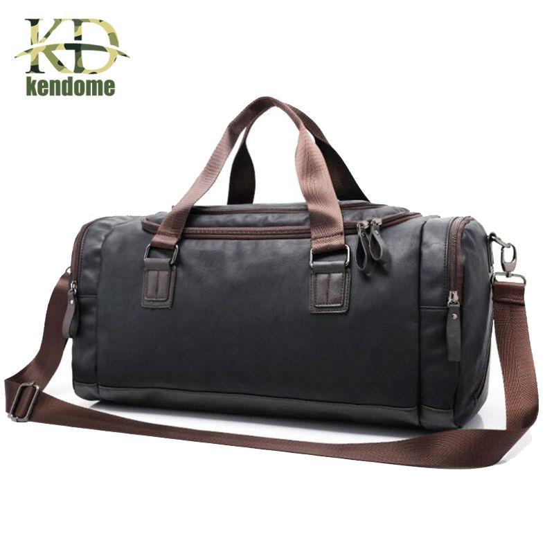 Men s Large Capacity PU Leather Sports Bag Gym Bag Fitness Sport Bags  font   b Duffel  b   font  Tote Travel Shoulder Handbag Male Bag Black Brown 5e47e7299f