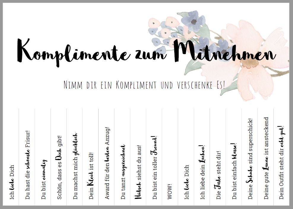 Freebie Komplimente Zum Mitnehmen Diy Hochzeit Komplimente Diy Hochzeit Diy Hochzeit Basteln