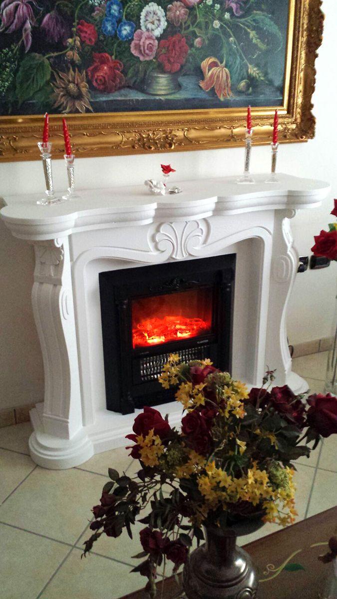 Faux fireplace finto camino decorativo modello luigi xiv for Finto camino elettrico