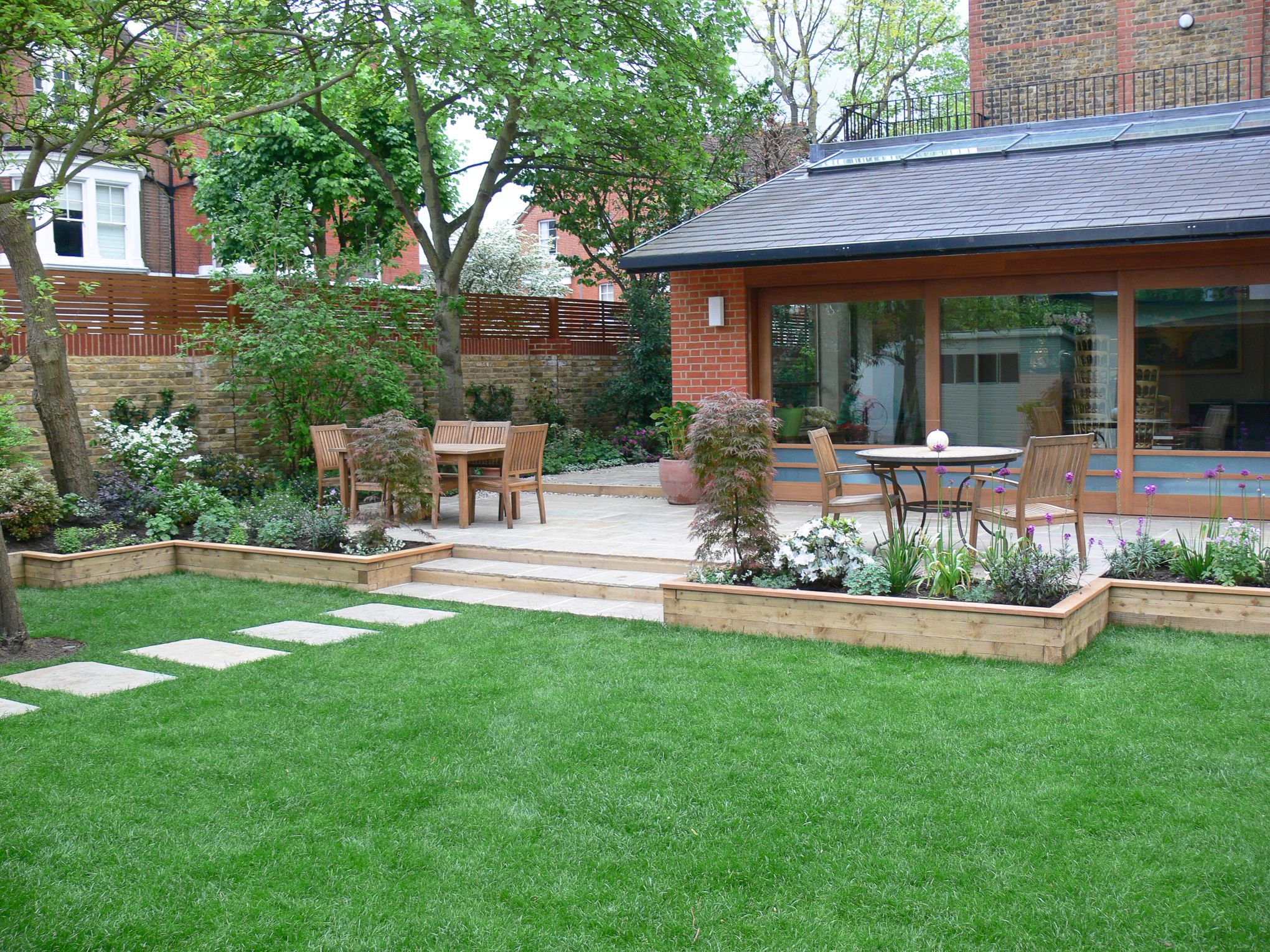garden with patio raised beds and lawn