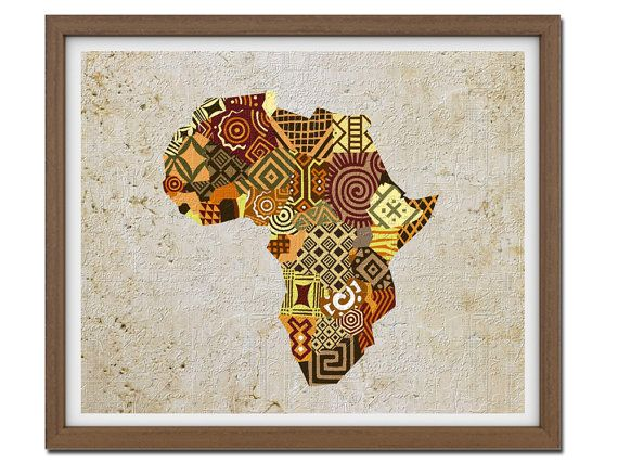 African Map Art African Print Map Decor African Wall By Iqstudio Kartenkunst Afrika Just For You