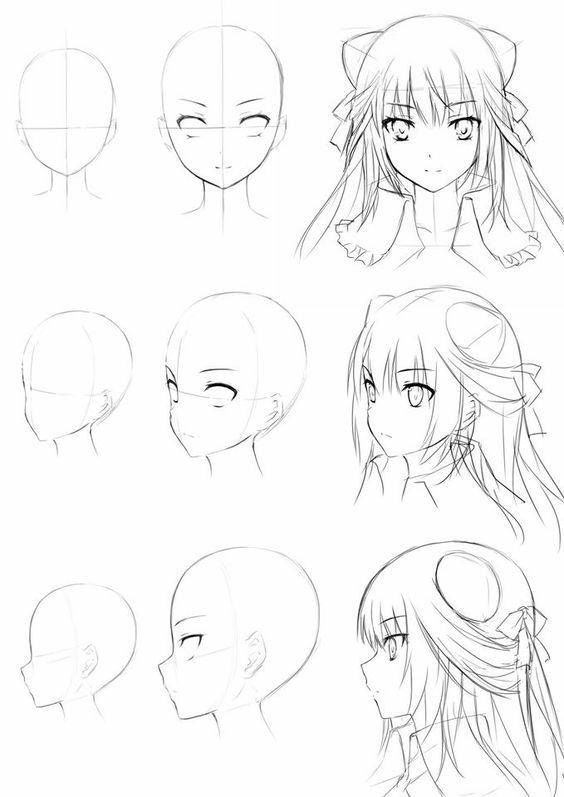 dessin de tête de fille anime – #anime #drawing #girl