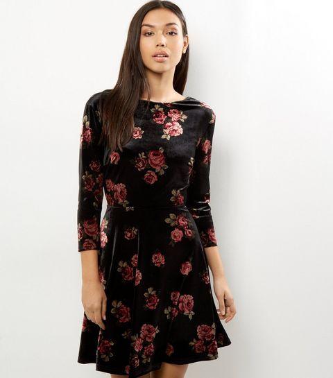 Black Velvet Floral Print Dress