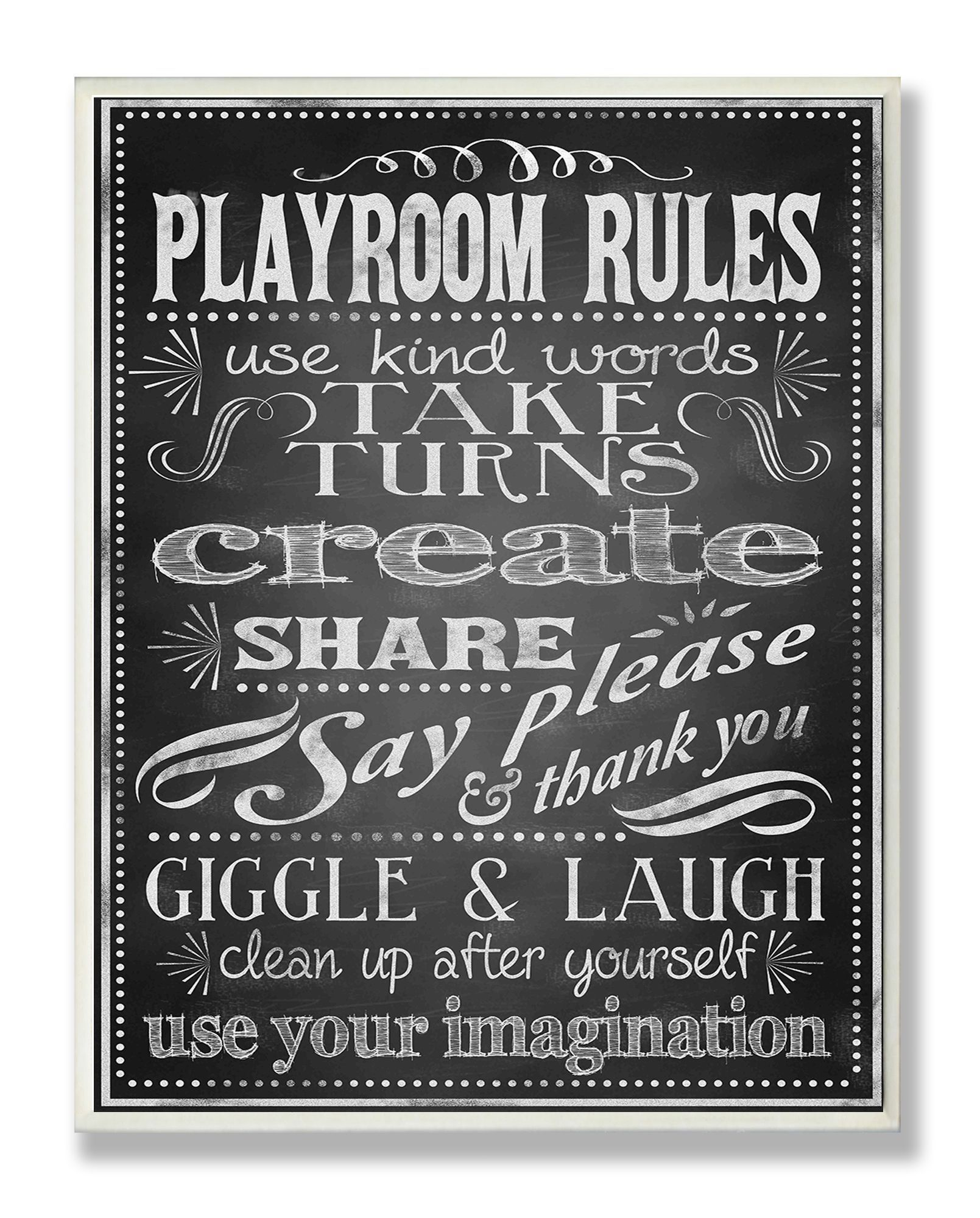The Kids Room by Stupell Rules of the Game Orange and Green Typography Rectangle Wall Plaque