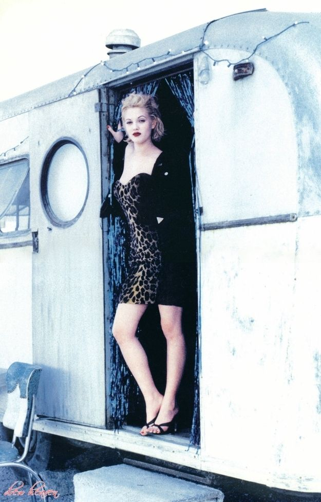Art print POSTER Actress Drew Barrymore at the set of Wishful Thinking