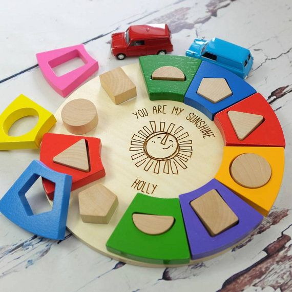 Colourful Circle Shape Sorter Personalised Toddler Gift Shape Puzzles Circle Shape Toddler Gifts