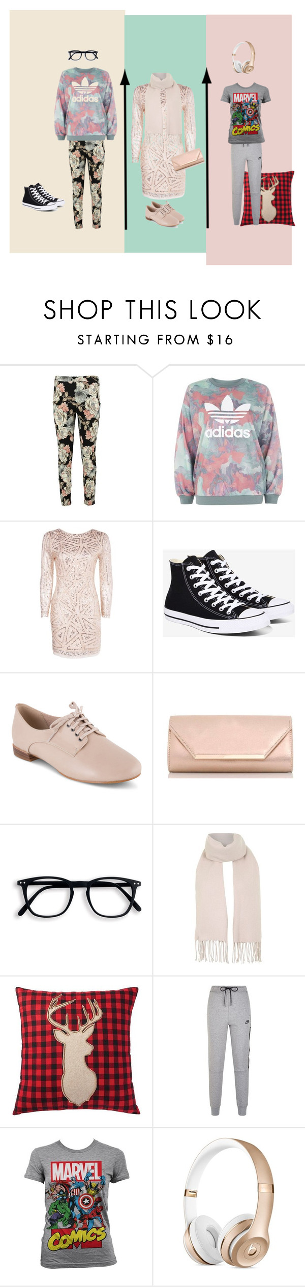 """""""Winter Outfits"""" by abby526 on Polyvore featuring Boohoo, adidas, Converse, Clarks, Dorothy Perkins, Topshop, Home Decorators Collection, NIKE and Marvel Comics"""