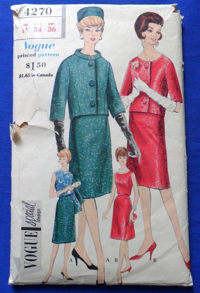 Vintage 1960s VOGUE Special Design Dress Pattern 4270 Suit Skirt ...