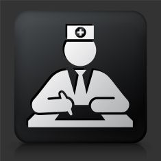 Black Square Button with Health Worker vector art illustration