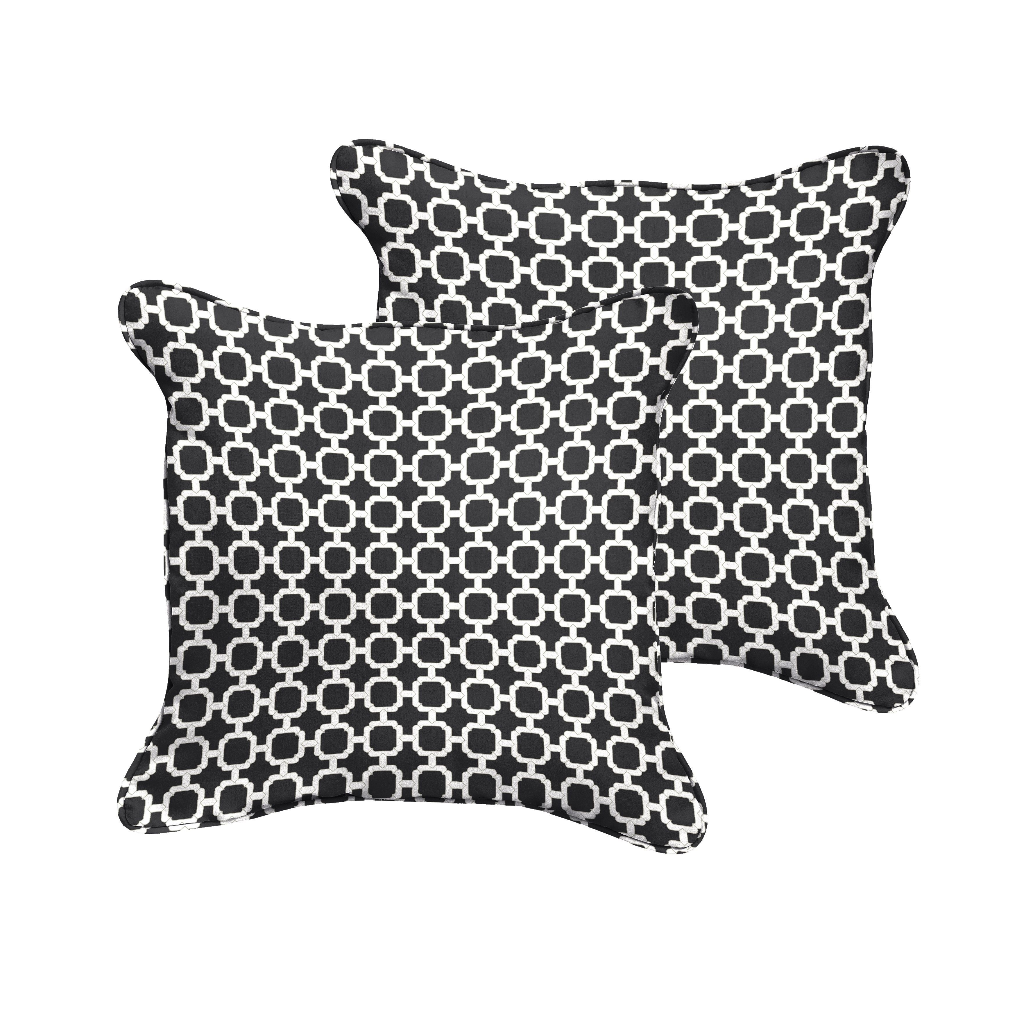 Hadley Ii Black Chainlink Indoor Outdoor Square Corded Pillow Set