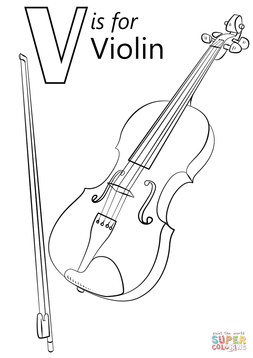 V Is For Violin Coloring Page Free Printable Coloring Pages Kindergarten Coloring Pages Alphabet Coloring Pages Abc Coloring Pages