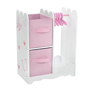 Amazon Com 18 Inch Doll Furniture Beautiful Pink And White Open Wardrobe Closet With Bu Doll Clothes Hangers 18 Inch Doll Furniture Doll Furniture