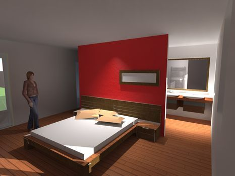 idee dressing dans une chambre avec une separation au milieu ...