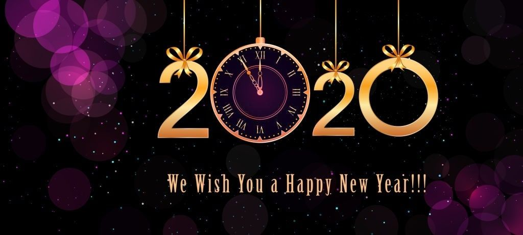 Gold 2020 Happy New Year Fireworks Holiday Postcard