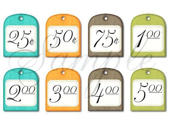 Garage Sale Price Tags Free Printable Yard Template