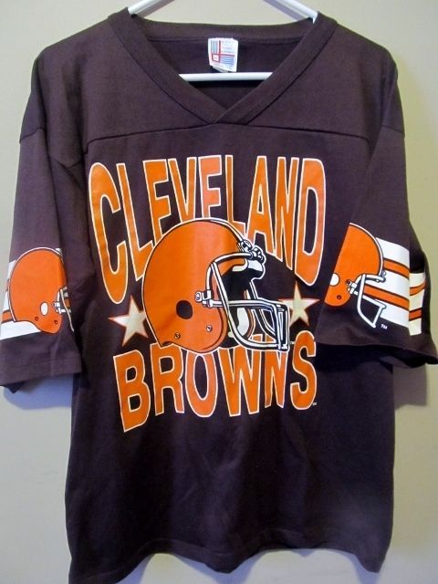 free shipping c3ba8 3398b vintage 80s CLEVELAND BROWNS FOOTBALL JERSEY T-Shirt MEDIUM ...