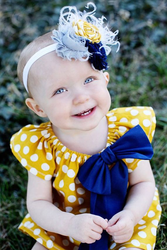 Mustard Yellow Navy White Polka Dot Peasant by MooseBabyCreations  outfit for ava?