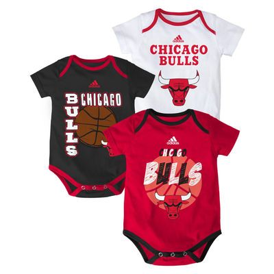 a006d510420 Infant adidas Red Black White Chicago Bulls 3-Point Spread Bodysuit Set