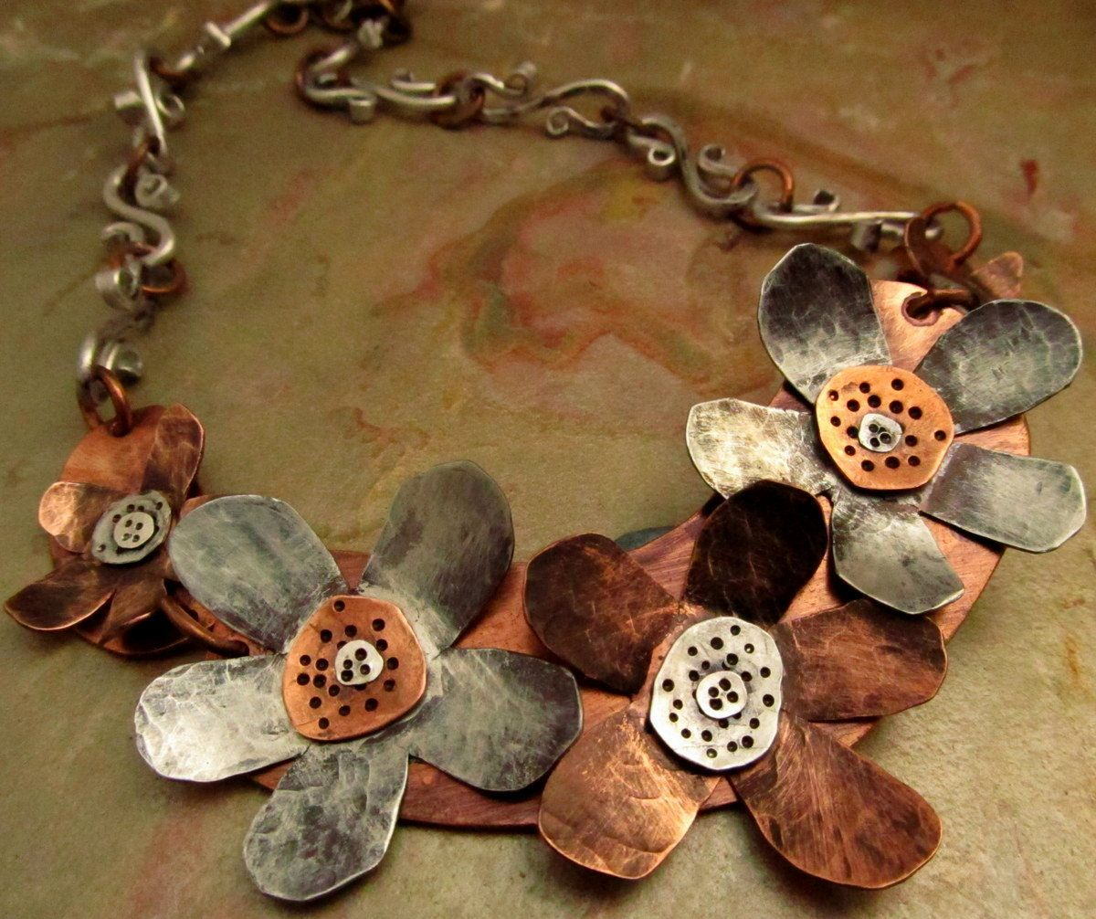 mixed flower metalwork cold statement stamped pin necklace hand riveted jewelry metal connections