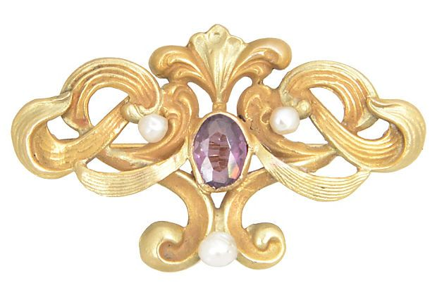 Art Nouveau Scroll Brooch on OneKingsLane.com