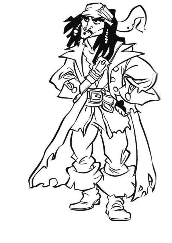 Jack Sparrow Captain Of The Black Pearl In Pirates Of The Caribbean Coloring Page Jack Sparrow Pirates Of The Caribbean Coloring Pages
