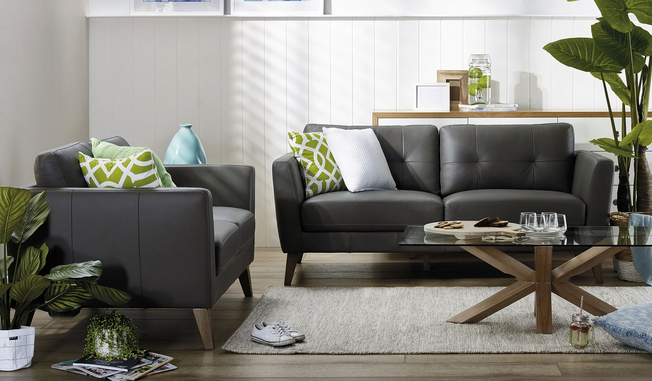 Eden 3 + 2 Seater Leather Lounge Suite Focus on
