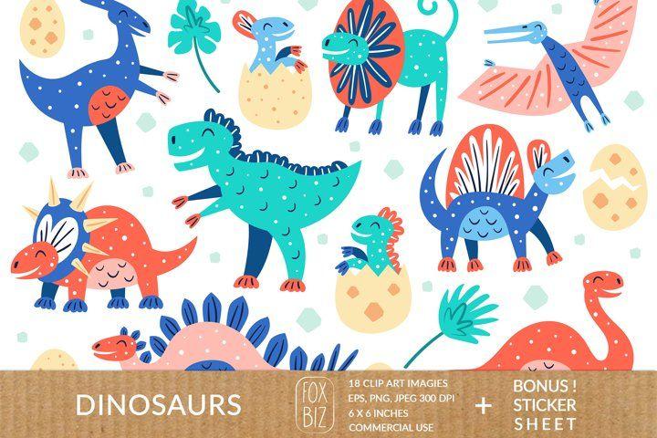 Dinosaur clipart. Dino prints. Prehistoric animals. Jurassic