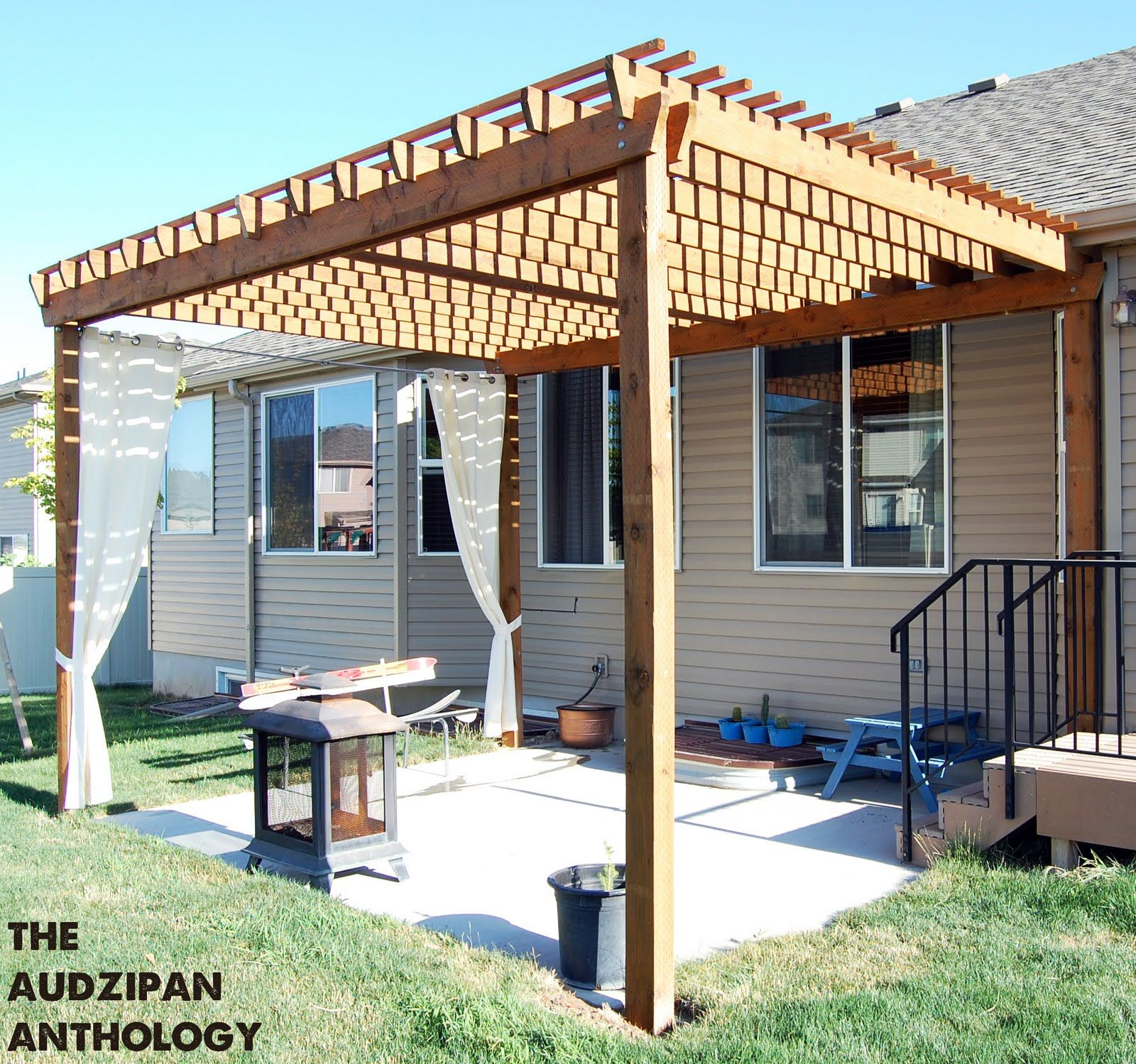 DIY Backyard Pergola ... Use more wood beams for less sun. Love ...