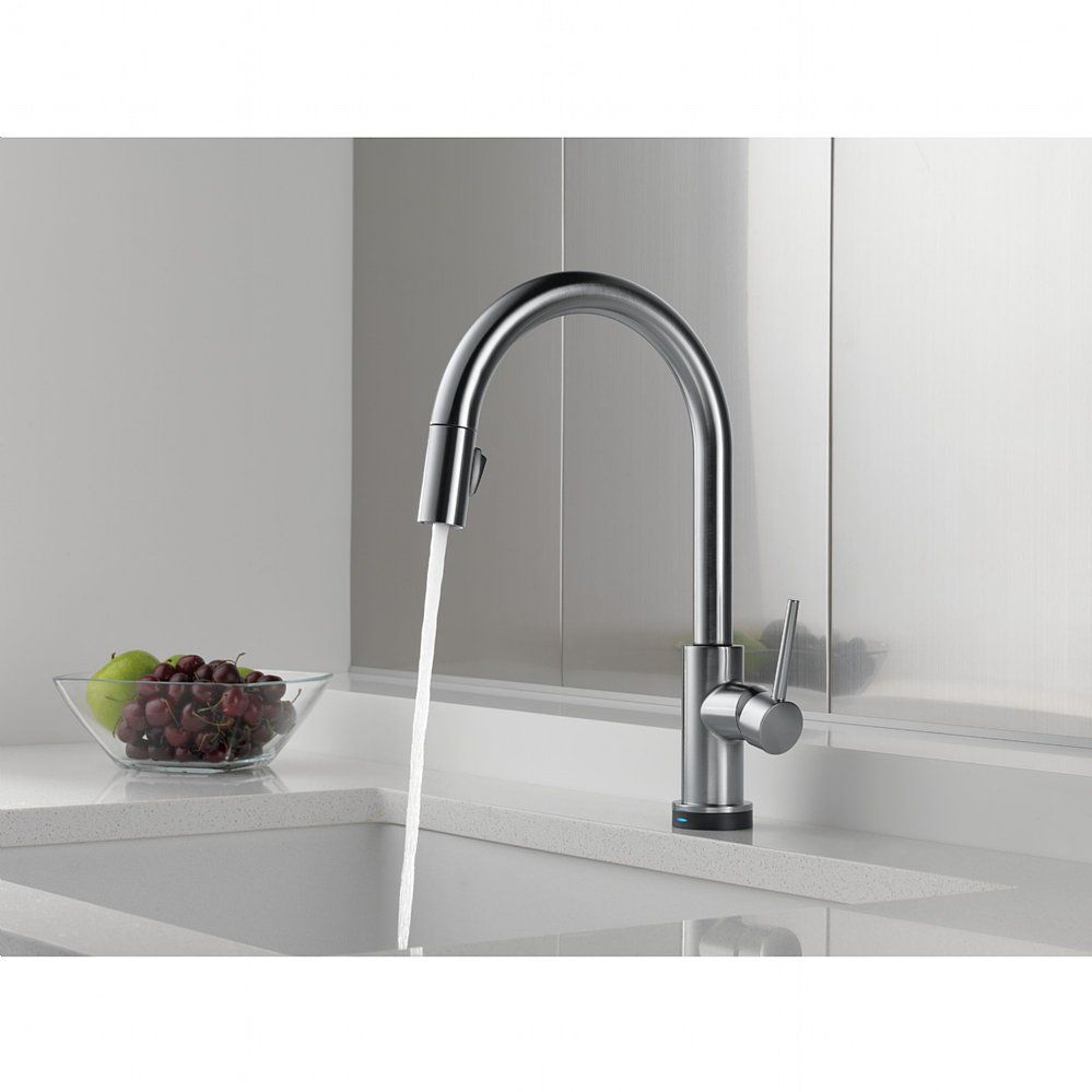 DELTA TRINSIC Single Handle Pull-Down Kitchen Faucet Featuring ...