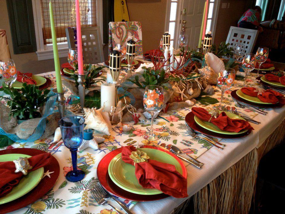 Hawaiian Christmas Table Decor With Images Hawaiian Christmas
