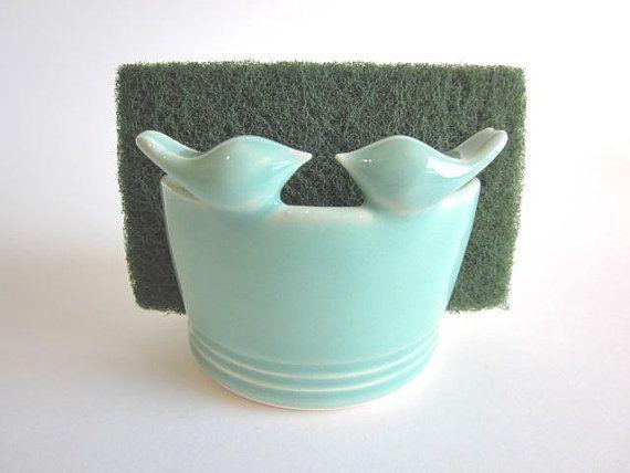 Kitchen Sponge Holder With Mint Greendarriellesclayart $2600 Amusing Kitchen Sponge Inspiration
