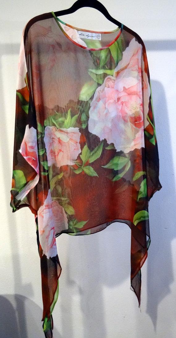 c43d10bda7 Mother's Day, Silk Resort Shirt, For Her, Wedding, Silk Georgette, Peony,  Go Pink, ONESIZE