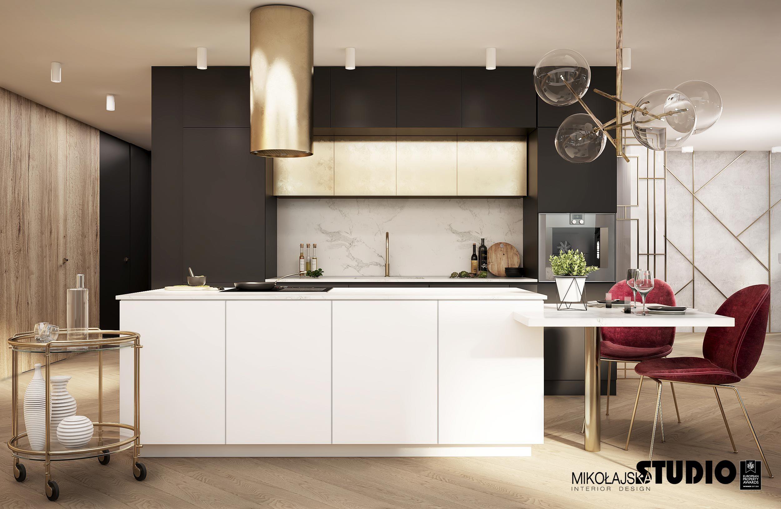 Zloty Okap Biale Fronty Zlote Szafki Elegant Kitchens Home Decor Kitchen