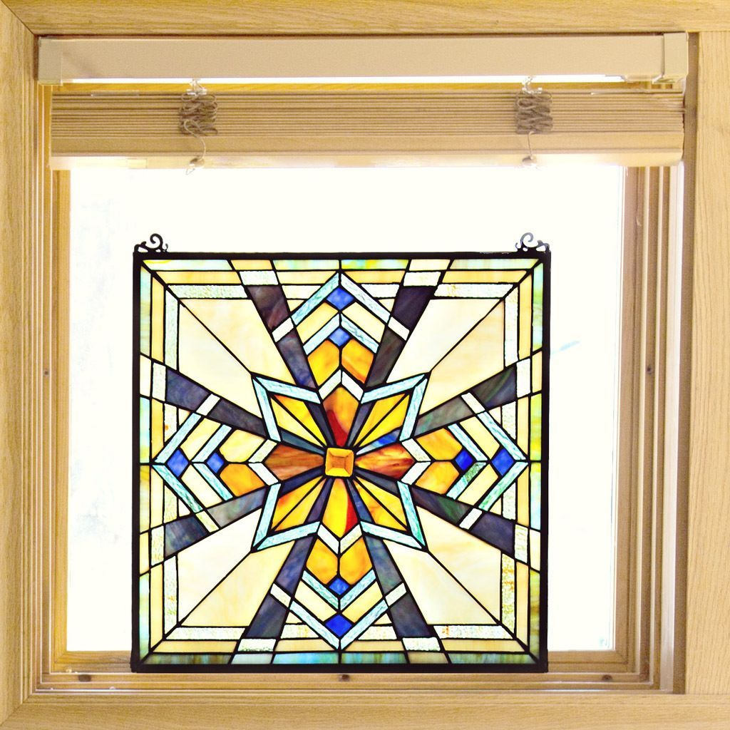 Tiffany Stained Glass 18-inch Northern Star Window Panel - M, Orange ...