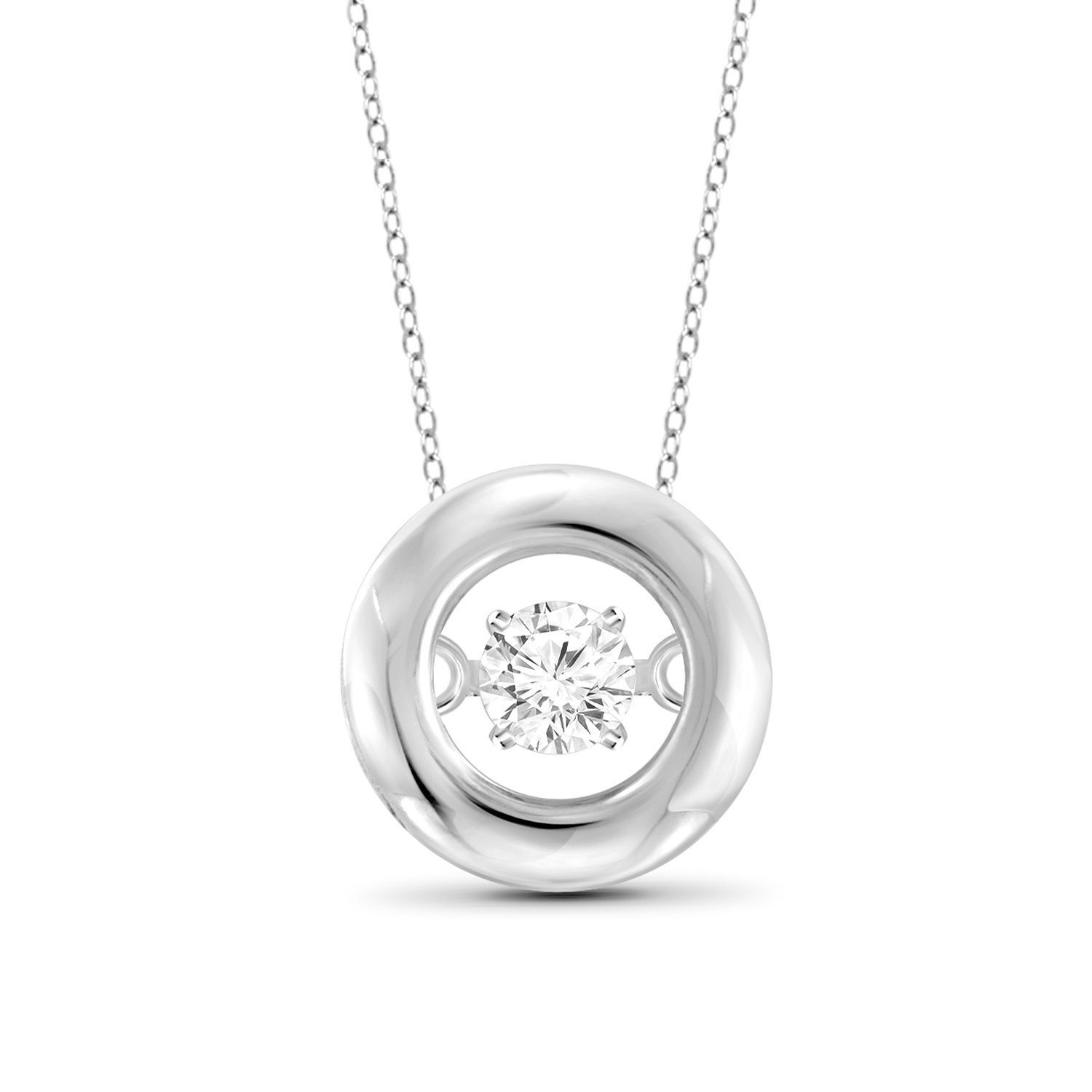 Jewelonfire ct tdw white diamond circle pendant white womenus