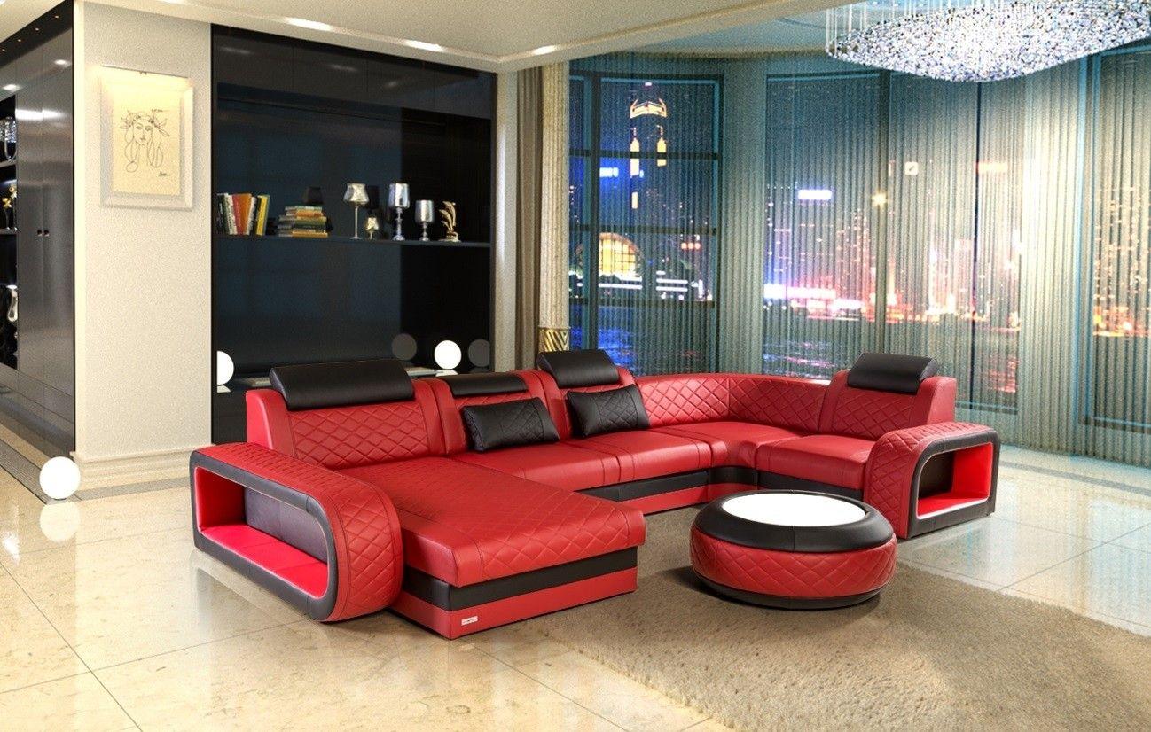 Luxus Wohnlandschaft Chesterfield Optik Berlin U Form Leder Rot